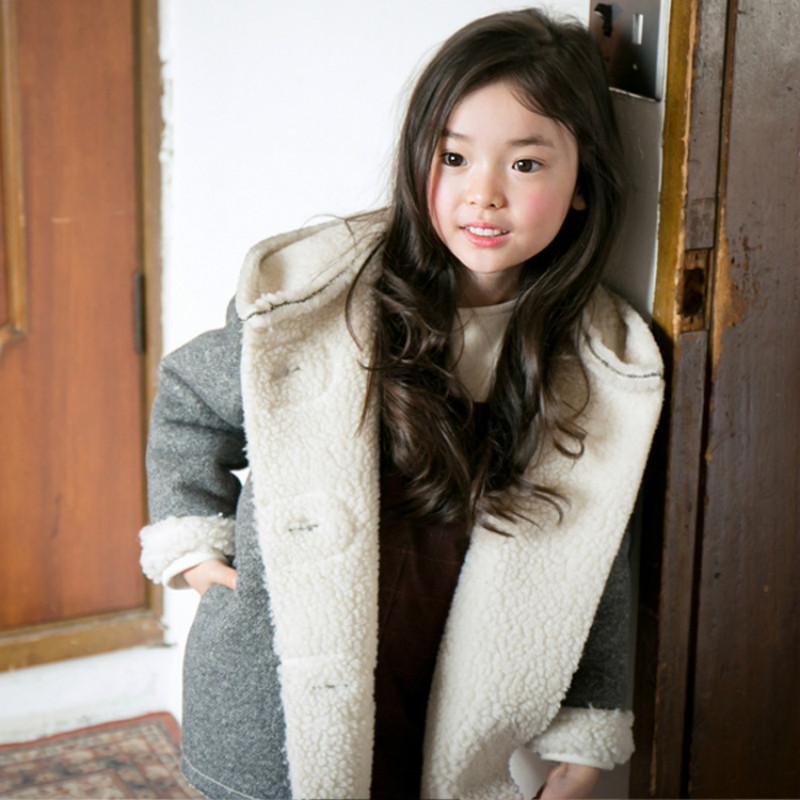 ФОТО Fur coat boys and girls winter jacket warm jacket children's new fashion jacket baby girl cashmere hooded coat 3-14 years old