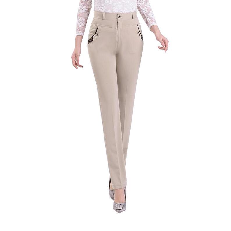 New 2017 Summer Elegant Women Pants Lady High Waist Office OL Slim Straight Pants Solid Color