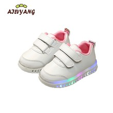 2019 Spring Children Lighted Shoes Boys Luminous Shoes Girls LED Colorful Lights Sneakers Toddler Kids White Glowing Trainers(China)