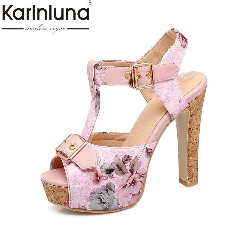 Karinluna Top Quality Plus Size 32-46 Customized Peep Toe Summer Sandals Women Shoes Fashion Flower Printing Party Footwear