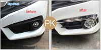 More Fashion ! For Honda Civic 2016 2017 ABS Front Fog Lamp Light Eyelid Eyebrow + Ring Decoration Cover Cap Trim 4 Piece