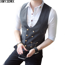 2018 Mens Double Breasted Suits Vests Formal Waistcoat Slim Fit casual Plus Size 5XL Club Outfits Male Clothing Work Vest