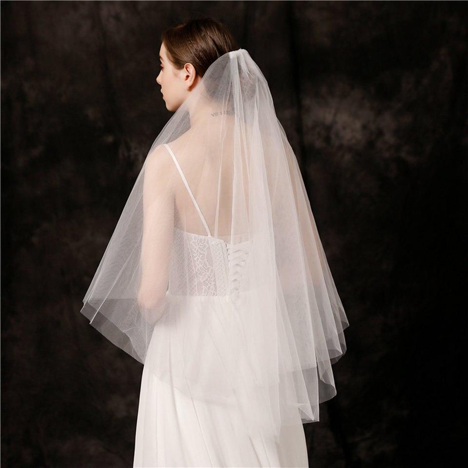 White Tulle Wedding Veil Short Bridal Veil