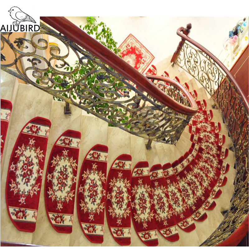 1pcs Chinese traditional red Stair Carpet Sets Slip Resistance Stair Tread Mats Step Rug For Stair 100% acrylic material foot