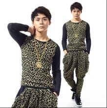 New DS mens singer Leopard Slim influx of men nightclub stage costumes suit  DS nightclub costumes Leopard shirt + leopard pants