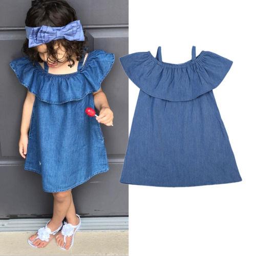 60a8417c8226 Fashion Baby Girl Kids Summer Clothes Flouncing Denim Beach Jeans ...