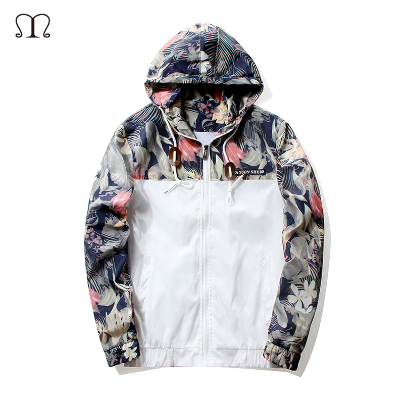 New 2018 Spring Floral Jackets Men Bomber Jacket Autumn Tactical Coat Windbreaker Hooded ...