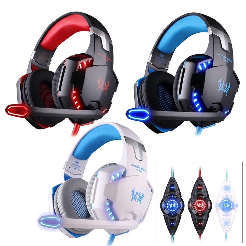 KOTION EACH 3.5mm Earphone Gaming Headset G2200 Pro Gaming Headphone Online Game LED Headset Surround Sound Feel+Mic