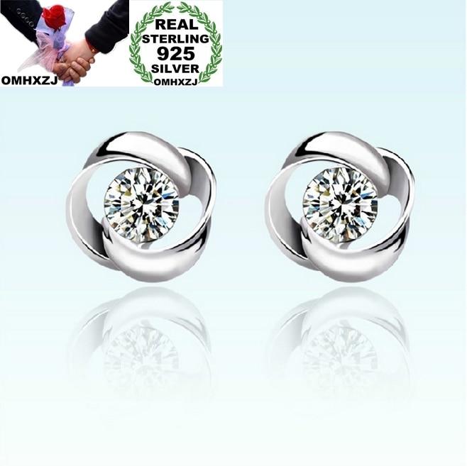 OMHXZJ Wholesale Fashion jewelry Rotary love AAA zircon 925 sterling silver Stud earrings YS09