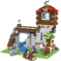 LELE 33018 592pcs My World 3 in 1 The Mountain House Deformation Building Block Kids DIY Bricks Toy for Children