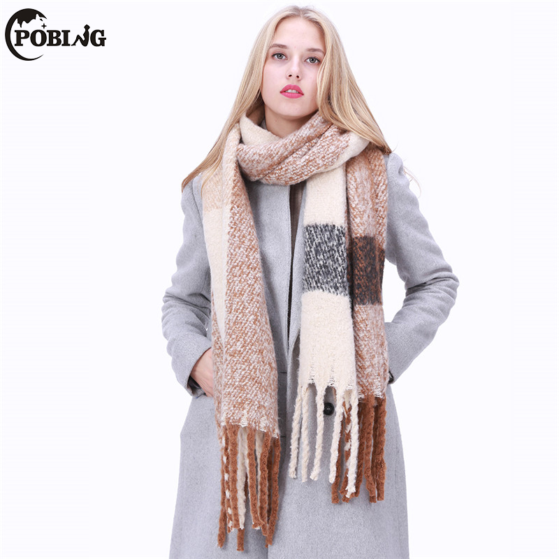 POBING 2017 New Design Pacthwork Solid Winter   Scarf   Women Echarpe Soft Cashmere Shawl Warm Blanket   Scarves     Wraps   Female Pashmina