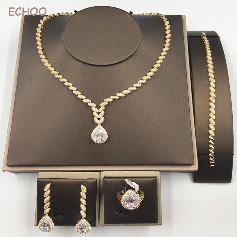 Fashion AAA Cubic Zirconia Water-drop Women Craft Horse Eye 4pcs Set Jewelry Necklace Earring Bracelet Finger Ring CN040