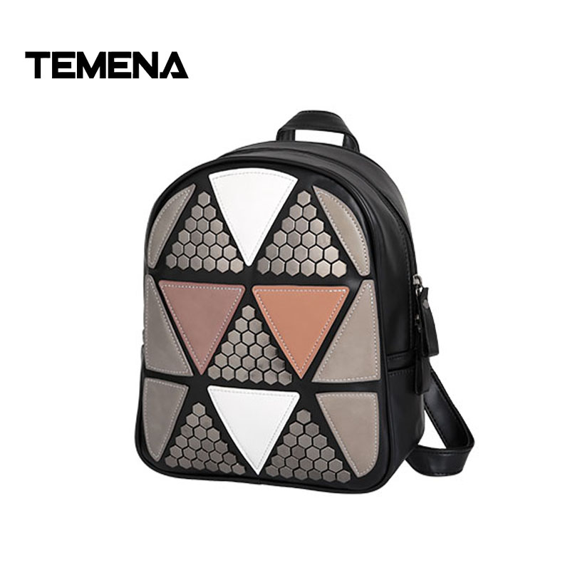 Temena 2017 New fashion Preppy Style Rivet Geometric Patchwork Rucksack Hotsale Ladies Travel Bag Student School