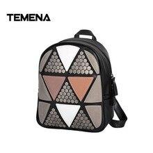 Temena Новинка 2017 года мода элегантный дизайн заклепки Геометрические лоскутное рюкзак кольцо Дамы дорожная сумка школьные BackpacksABP354