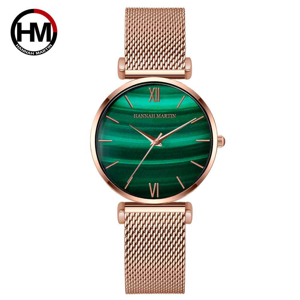 Women Watches Green Dial Ladies Japanese Quartz Wristwatch Waterproof Ultra-thin Stainless Steel Strap Waterproof Reloj Mujer