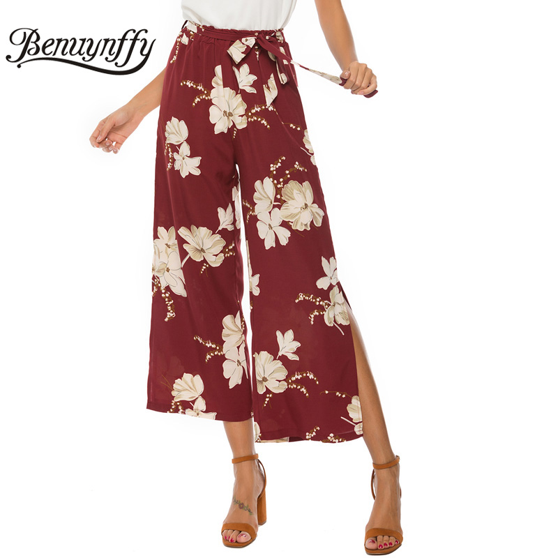 Benuynffy Flower Print Split   Wide     Leg     Pants   Summer 2019 Women Vacation Belted High Waist   Pants   Female Boho Casual Trousers