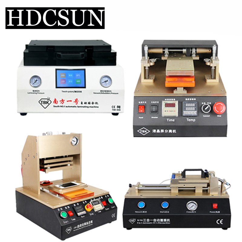 TBK LCD repair equipment Pneumatic Frame Machine+OCA Vacuum Laminator Machine+Automatic OCA Film Machine+Automatic Separator tbk 15 inch oca vacuum laminating machine lcd separator glue remover frame laminator manual oca polarizer film laminating