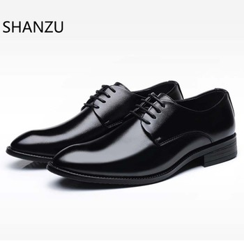 SHANZU Luxury Brand Classic Man Pointed Toe Dress Shoes Mens Patent Leather Black Wedding Shoes Oxford Formal Shoes Big Size 613