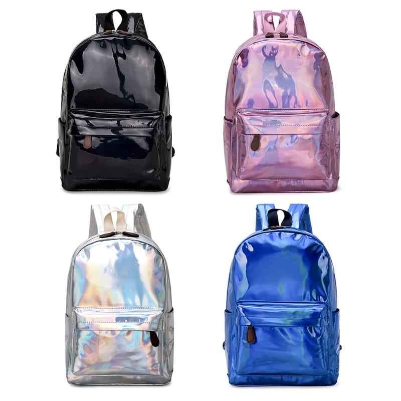 цена на Women Holographic Laser Backpack School Travel Shoulder Rucksack Bag Girl Bags