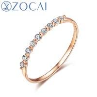 ZOCAI натуральный 0,16 карат бриллиантовое кольцо с настоящим розовое золото 18 К (Au750) W06264