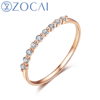 ZOCAI Natural 0.16 CT Diamond Ring with Real 18K Rose Gold (Au750) W06264