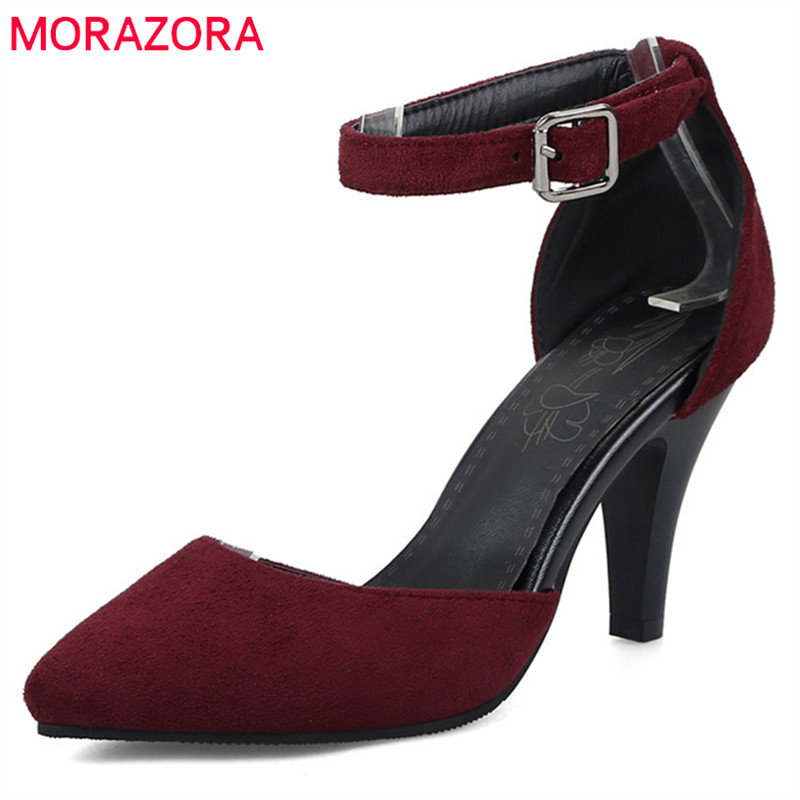 MORAZORA 2019 New Arrive Pointed Toe Pumps Women Shoes Simple Buckle Summer Shoes Elegant Party Wedding Shoes High Heels Shoes