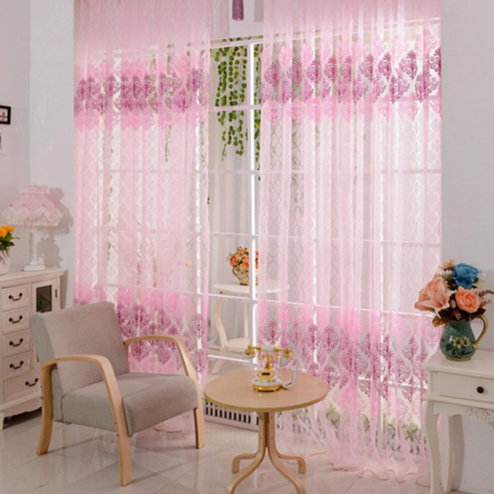 Fashion 100x200cm Pink Vintage Flower Print Room Curtains Girls Women Voile Window Sheer Panel