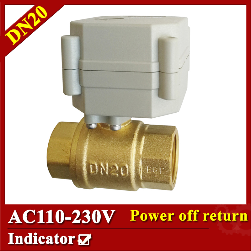 Full Port Brass 3/4'' normal open/close electric valve AC110V-230V motor operated valve DN20 electric motorized valve