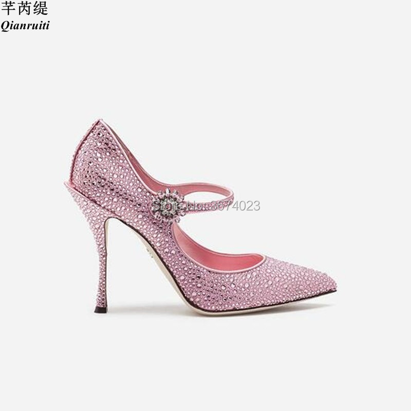 Robe Pointu Mariée Cristal Mariage Talons Stiletto Chaussures Haute Sangle De Diamants Rose Qianruiti Pompes Femmes Bout Brillant 1wSxBdS