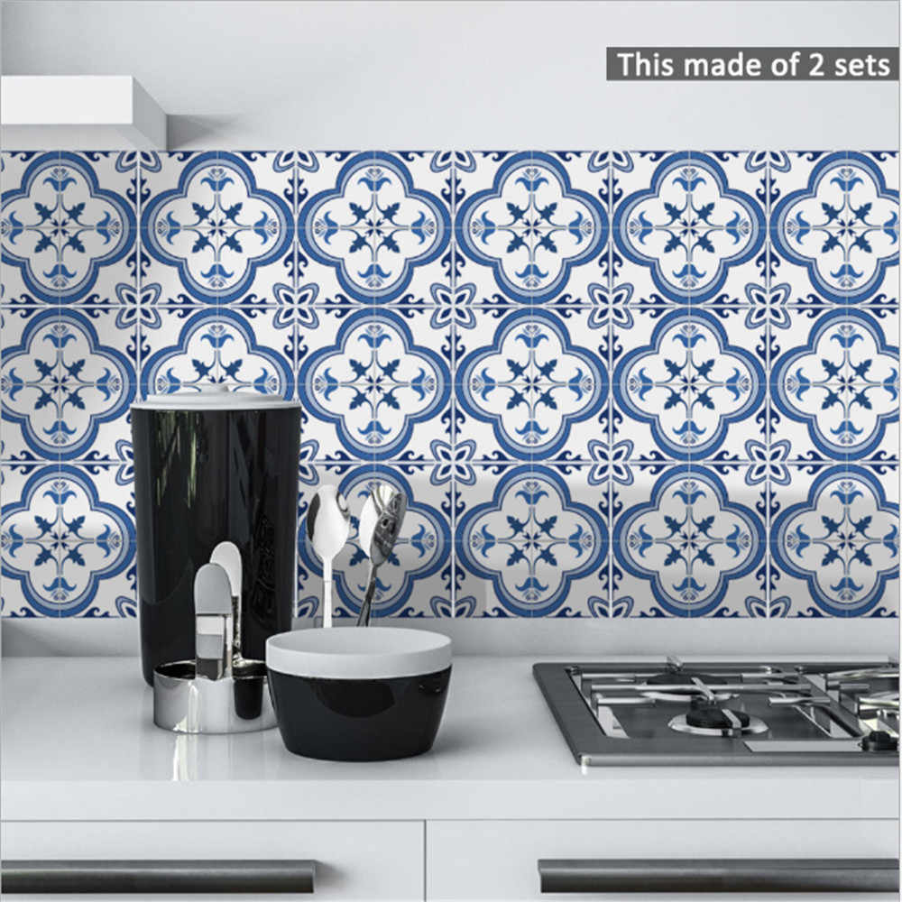Funlife Portugal blue pattern tile stickers self-adhesive DIY waterproof stickers kitchen wall stickers TS059
