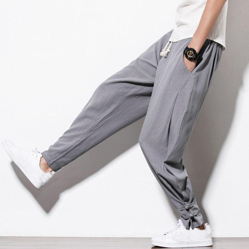 2018 Mens Casual Baggy Cotton Linen Harem Pants Men Jogger Male Solid Color Loose Frog Button Trousers Chinese Plus Size 4XL