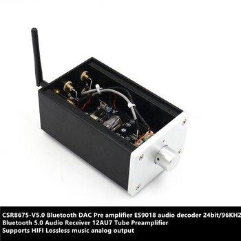 CSR8675-V5.0 DAC ES9018 24bit/96KHZ Bluetooth 5.0 Audio Receiver 12AU7 Tube Pre amplifier HIFI Lossless music analog output meixing mingda mc368 b5 pre bd player hd receiver 5 1 tube pre amp hifi exquis usb file reader multimedia audio decoder