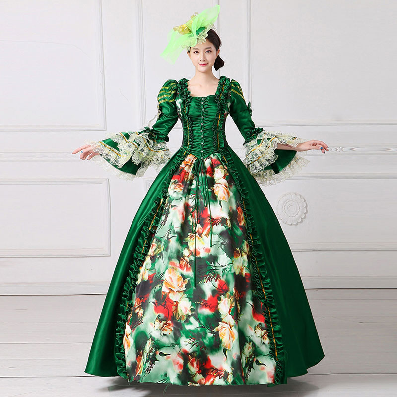 18th Century Royal Green Long Flare Sleeve Floral Printed European Court Party Dress Rococo Baroque Princess Ball gowns