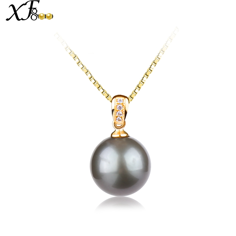 XF800 18K Yellow Gold Necklace Pendant 9-10mm Natural Black Tahitian Pearl Fine Jewelry Brand Wedding Party For Women D229XF800 18K Yellow Gold Necklace Pendant 9-10mm Natural Black Tahitian Pearl Fine Jewelry Brand Wedding Party For Women D229