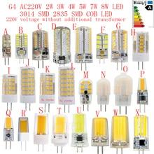 5PCS 10PCS 20PCS G4 AC220V 2W 3W 4W 5W 6W 7W 8W LED Bulb 3014SMD 2835SMD COB Replacing traditional halogen lamp