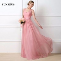 2017 Hot Sale High Quality Blush Pink Chiffon Bridesmaid Dress Long V Neck A Line Wedding