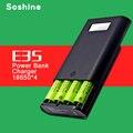 Soshine e3s autêntico original banco de potência e carregador de bateria portátil com duplo usb e display lcd para 18650 bateria