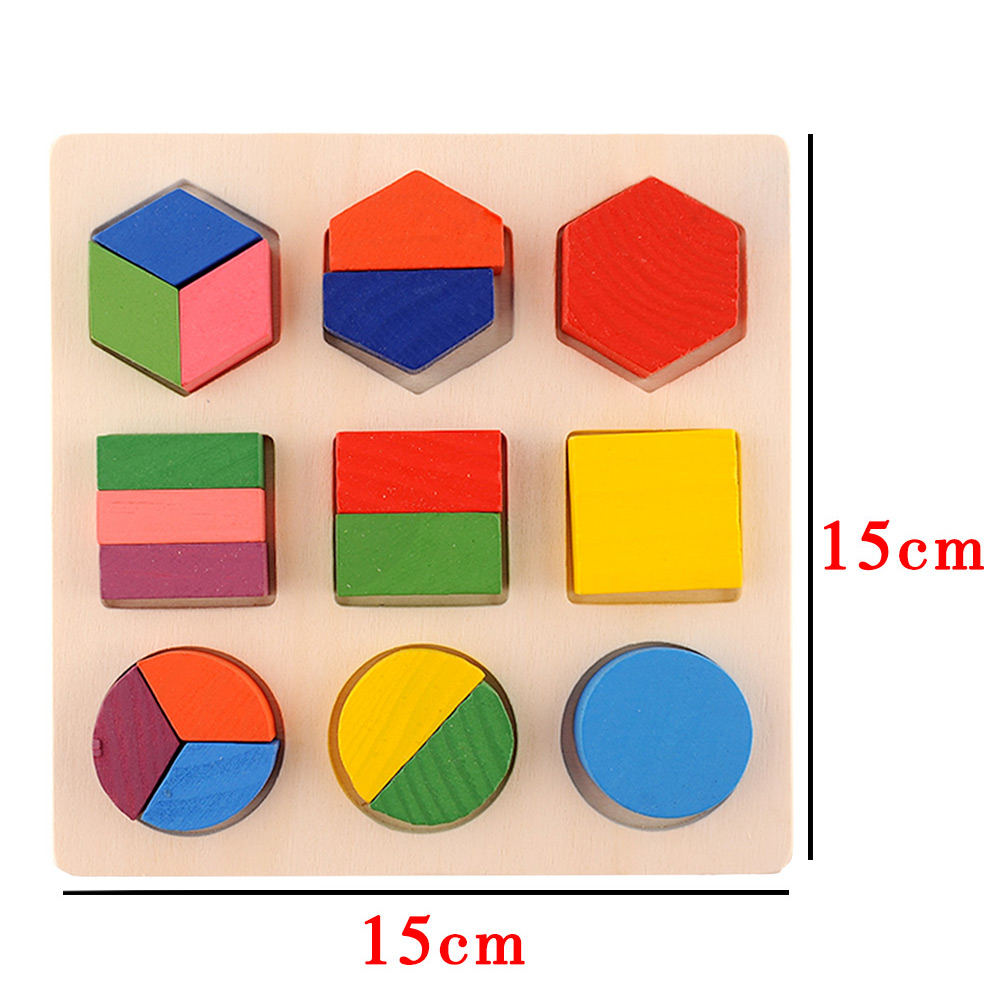 Baby Wooden Building Block Montessori Early Educational Toys Intellectual Geometry Toy 8