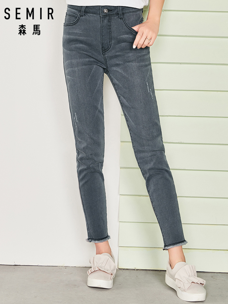 SEMIR 2019 New Arrival   JEANS   Woman Denim Pencil Pants Top Brand Stretch   Jeans   High Waist Pants Women Casual Pants