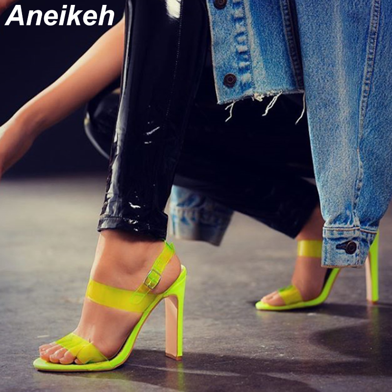 Aneikeh Fashion High Heels Peep Toe Transparent PVC Sandals Womens Shoes Summer Pumps Womens Shoes Buckle Strap Sandalias MujerAneikeh Fashion High Heels Peep Toe Transparent PVC Sandals Womens Shoes Summer Pumps Womens Shoes Buckle Strap Sandalias Mujer