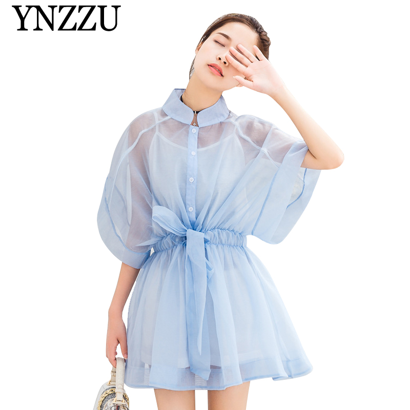 YNZZU 2019 Summer Organza Perspective Women Dress Lace Up Solid Causal Short Sleeve Mini Dress Fashion Ladies Vestiods YD264