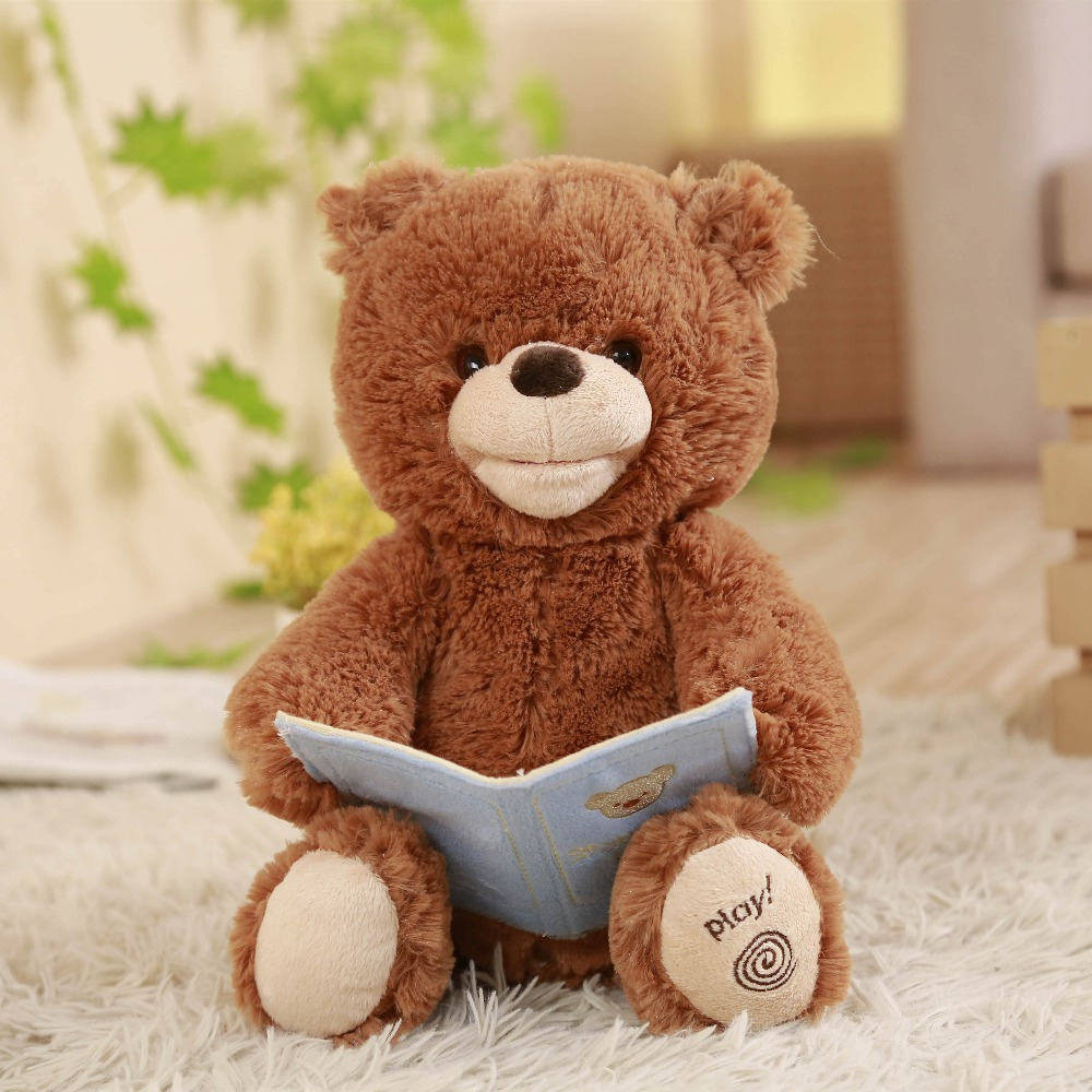Humor Ted Musical Plush Bear,Tell Story,Talk and move mouth,Electronic toys & gifts for Children,Boy and Girl
