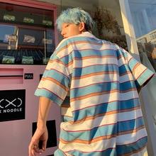 Striped Contrast Short Sleeve T-Shirt Men Loose Tops SF