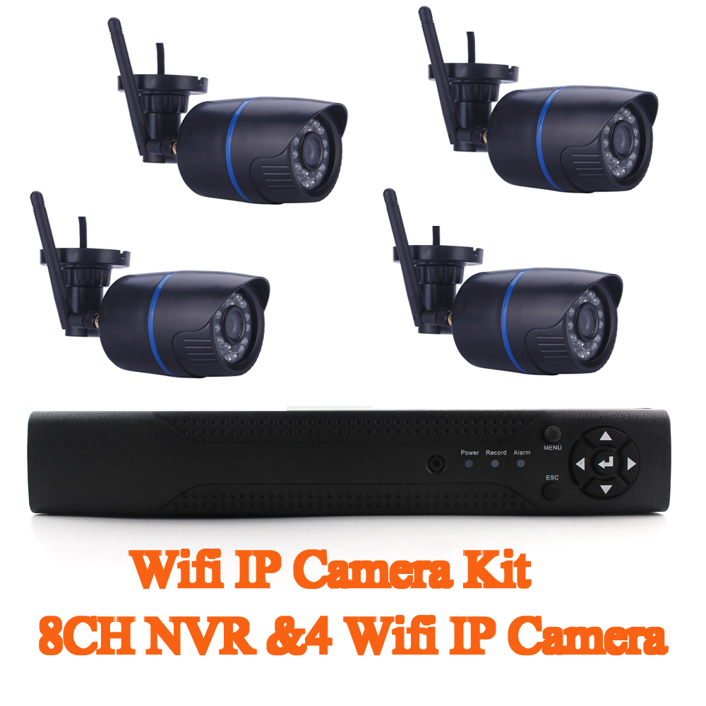 Plug And Play Wifi Camera Kit 8CH 1080P NVR&4pcs 720P Wifi Bullet IP Camera Home Surveillance IP Camera SystemPlug And Play Wifi Camera Kit 8CH 1080P NVR&4pcs 720P Wifi Bullet IP Camera Home Surveillance IP Camera System