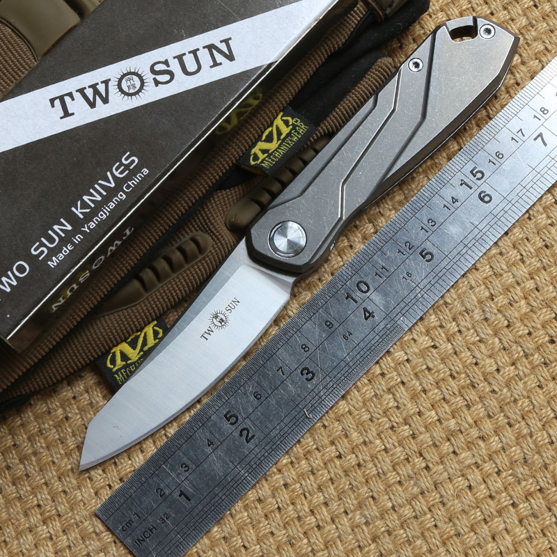TWO SUN TS07 Tactical Flipper ball brearing folding knife D2 blade titanium camping hunt Pocket knives outdoor Survival EDC Tool newest titanium folding knife tc4 handle d2 blade tactical survival pocket knife ball bearing flipper outdoor camping knife tool