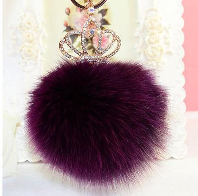 8cm fox hair ball crystal crown key chains key chain keychain for women Bag Pendant key ring free shipping