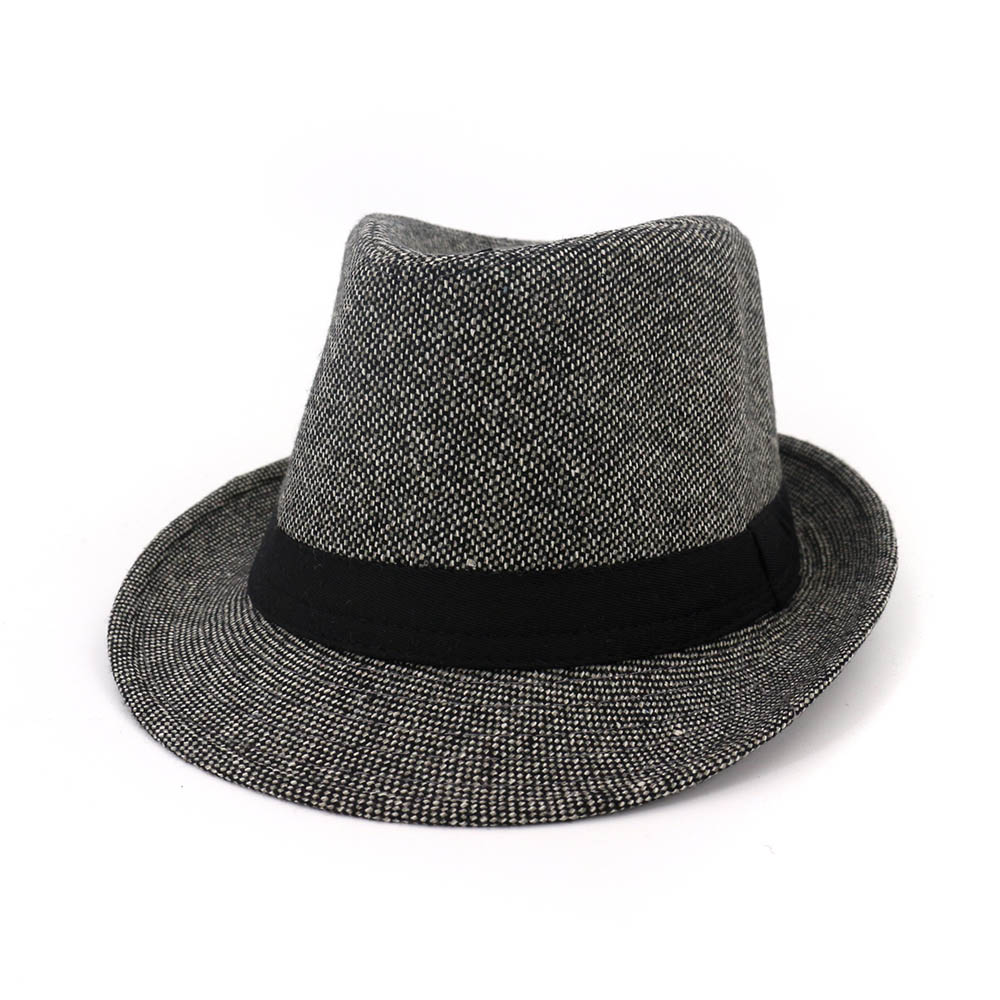 6b2cc096376 FS 2018 Autumn Black Fedora Hat Men Women Wool Felt Gangster Hat Vintage  Church Wide Brim With Ribbon Ladies Winter Fedoras-in Fedoras from Apparel  ...