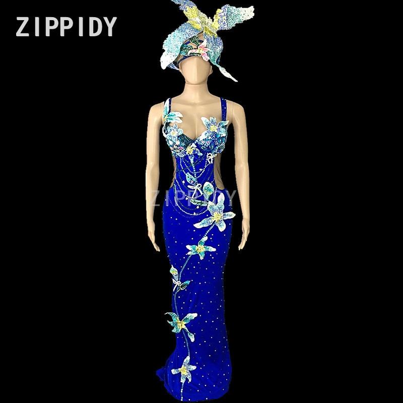 Glisten Rhinestones Flowers Stretch Dress Women s Dance Outfit Stones Mesh Sexy Dress Female Singer Birthday