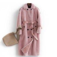 Натуральный мех пальто Для женщин 100% поярок длинные пальто и куртка зимняя женская одежда 2018 Новая серия Для женщин s из натуральной овчины