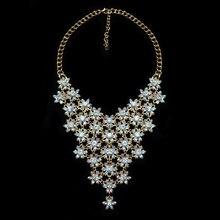 Joyería de moda de Lujo de Las Mujeres Collar de Flores Colgante ZA AB Crystal Collar Babero Declaración Gargantilla Boho Maxi Collier Femme Accesorio